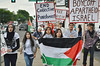 Young girl carrying Palestinian flag, other marchers behind her with signs and flags.