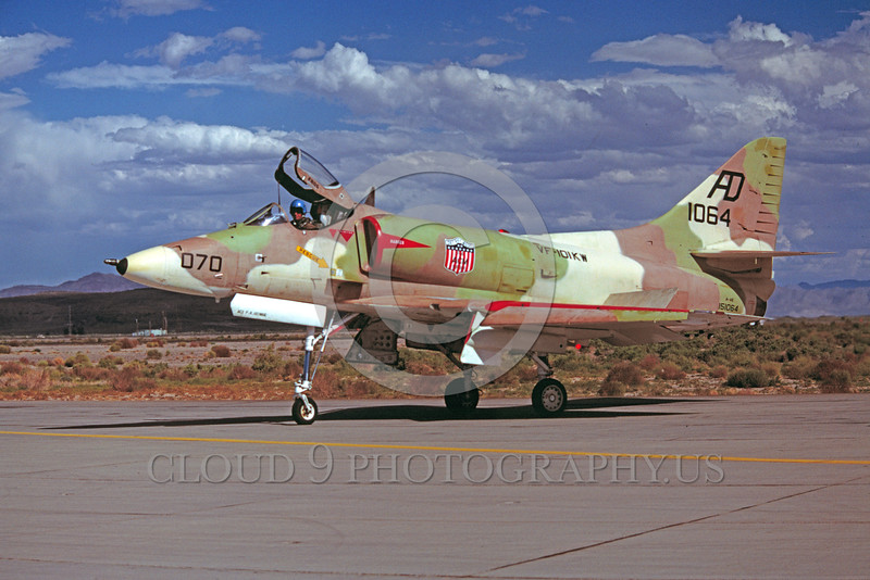 A-4USN-VF-101KW 0001 A taxing US Navy Douglas A-4E Skyhawk attack jet 151064 VF-101KW GRIM REAPERS NAS Fallon 7-1977 military airplane picture by Peter B Lewis