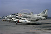 A-4USN-VA-203 0011 A static US Navy Douglas A-4L Skyhawk attack jet 149551 VA-203 BLUE DOLPHINS NAS Jax 2-1973 military airplane picture by L B Sides