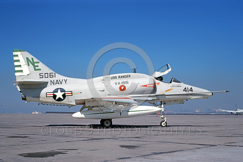 A-4USN-VA-155 0001 A static US Navy Douglas A-4F Skyhawk attack jet 155061 VA-155 SILVER FOXES USS Ranger NAS North Island 1-1969 military airplane picture by Clay Janson