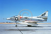 A-4USN-VA-216 0001 A static US Navy Douglas A-4 Skyhawk attack jet 148576 VA-216 BLACK DIAMONDS NAS Lemoore 10-1986 military airplane picture by Duane A Kasulka