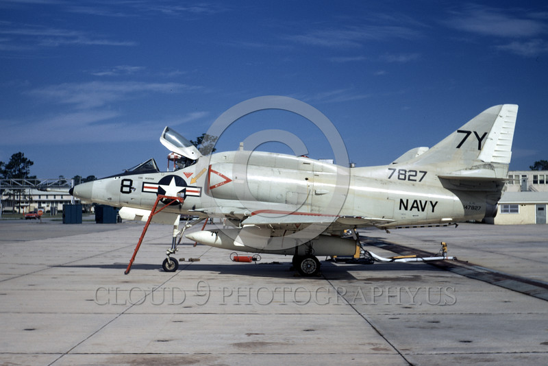A-4USN-Generic 0005 A static US Navy Douglas A-4 Skyhawk attack jet 147827 7Y code NAS Cecil Field 2-1972 military airplane picture by L B Sides