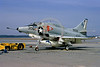 A-4USN-VA-203 0009 A static US Navy Douglas A-4L Skyhawk attack jet 149556 VA-203 BLUE DOLPHINS NAS Jax 2-1973 military airplane picture by L B Sides