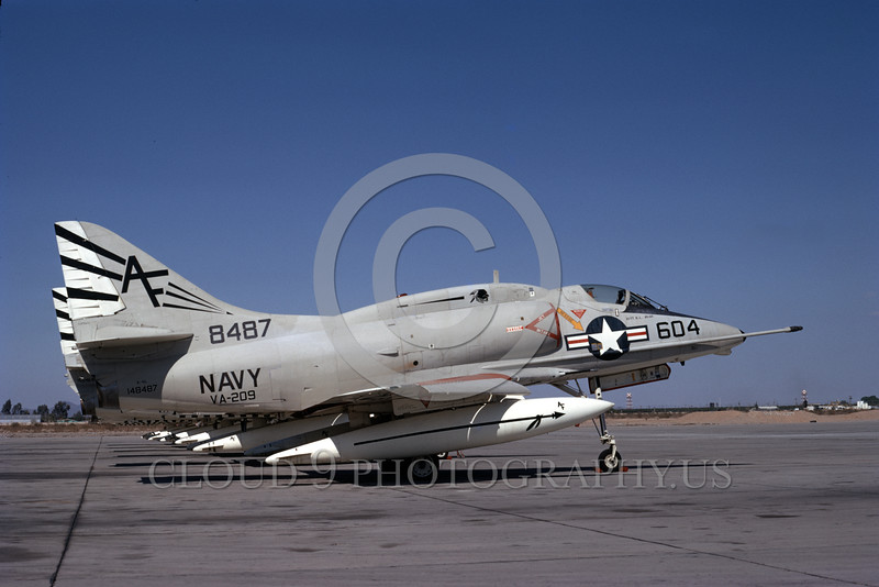 A-4USN-VA-209 0001 A static US Navy Douglas A-4L Skyhawk attack jet 148487 VA-209 AIR BARONS MCAS Yuma 3-1971 military airplane picture by Michael Grove, Sr