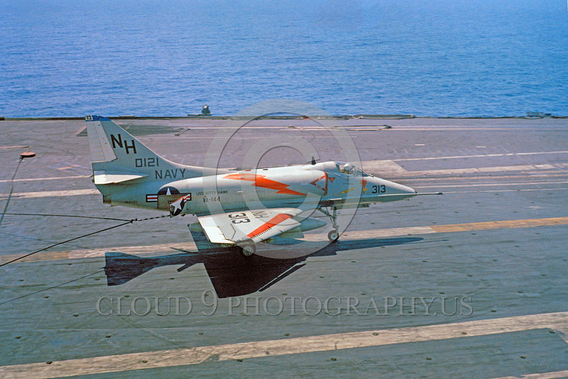 A-4USN-VA-144 0001 A Douglas A-4E Skyhawk USN VA-144 ROADRUNNERS on USS Kitty Hawk 4-1963 by military airplane picture by Clay Janson