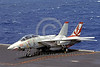 F-14USN-VF-111 0007 A static Grumman F-14 Tomcat USN 160654 VF-111 SUNDOWNERS USS Carl Vinson 7-1983 military airplane picture by Tom Chee