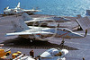 F-14USN-VF-102 0007 A Grumman F-14 Tomcat USN 161283 VF-102 DIAMONDBACKS taxis on USS America 3-1983 military airplane picture by Steve Daniels