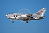 A-7USN-VA-105 0006 A landing Vought A-7E Corsair II USN attack jet 157553 VA-105 GUNSLINGERS commanding officer's airplane USS Saratoga AC code 6-1976 military airplane picture by Michael Grove, Sr