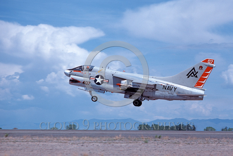 A-7USN-VA-304 0008 A landing Vought A-7 Corsair II USN attack jet 154462 VA-304 FIREBIRDS NAS Fallon 5-1980 military airplane picture by Michael Grove, Sr