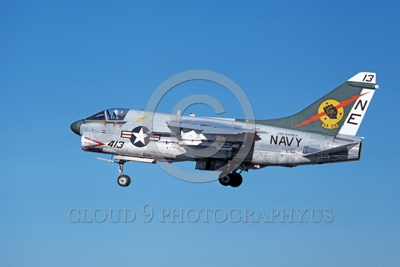 A-7USN-VA-25 0002 A landing Vought A-7E Corsair II USN attack jet 157514 VA-25 FIST OF THE FLEET USS Ranger NE code 1-1980 military airplane picture by Michael Grove, Sr