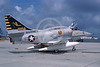 A-4USMC-VMA-331 0007 A static Douglas A-4M Skyhawk USMC 158184 VMA-331 BUMBLEBEES MCAS Beaufort 6-1975 military airplane picture by Taylor Collins