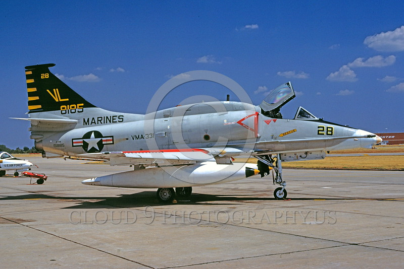 A-4USMC-VMA-331 0001 A static USMC Douglas A-4M Skyhawk attack jet 158185 VMA-331 BUMBLEBEES 8-1980 Tinker AFB military airplane picture by Charles E Stewart