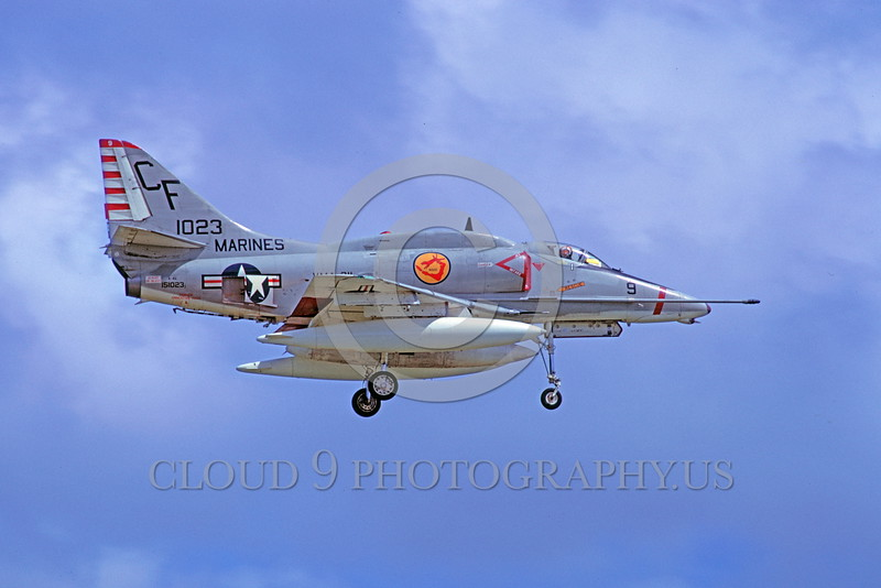 FLY-A-4USMC 00004 A flying USMC Douglas A-4E Skyhawk attack jet 151023 VMA-211 AVENGERS 6-1975 Kadena Air Base military airplane picture by Masumi Wada