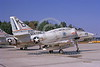A-4USMC-VMAT-203 0001 A static Douglas A-4 Skyhawk USMC 158187 VMAT-203 HAWKS Andrews AFB 10-1973 military airplane picture by Frank MacSorley