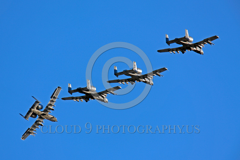 A-10USAF 00228 Four flying Fairchild A-10 Thunderbolt II USAF attack jets military airplane picture by Peter J Mancus