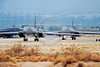 B-1USAF 00029 Two taxing Rockwell B-1 Lancer USAF strategic bombers Nellis AFB military airplane picture by Peter J Mancus