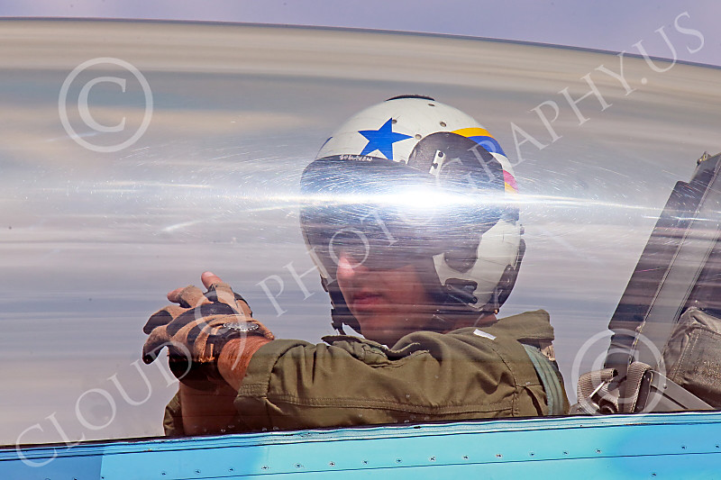 ACM 00316 A male USN TOP GUN F-16 Viper fighter pilot in the backseat of a two seat F-16 at NAS Fallon 2014, by Peter J Mancus