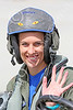 ACM 00415 A rare USN female F-16 fighter pilot, a professional aerial assassin, waives for the camera, NAS Fallon 2014, by Peter J Mancus