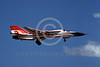 EE-F-111USAF 00002 A landing colorful General Dynamcs F-111 Aardvark USAF fighter-bomber 8-1985 military airplane picture by Peter B Lewis