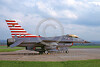 EE-F-16USAF 00001 A static colorful Lockheed Martin F-16 Fighting Falcon USAF jet fighter with red and white stripes on tail military airplane picture by David Parker