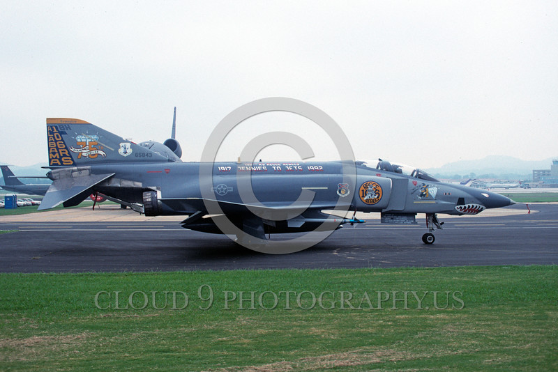 EE-F-4ANG 00005 A static colorful McDonnell Douglas RF-4C Phantom II Alabama ANG sharkmouth 8-1992 military airplane picture by Ray R Leader