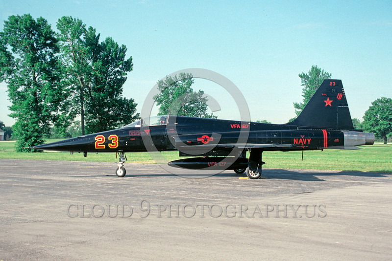 EE-F-5USN 00001 A static black US Navy Northrop F-5E Freedom Fighter VFA-127 DESERT BOGEYS 3-1991 military airplane picture by Ray R Leader