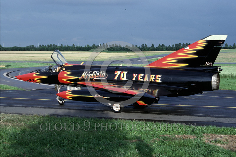 EE-Mirage III 00006 A static colorful black with red flames Dassault Mirage III jet fighter 7-1990 military airplane picture by Wilfried Zetsche