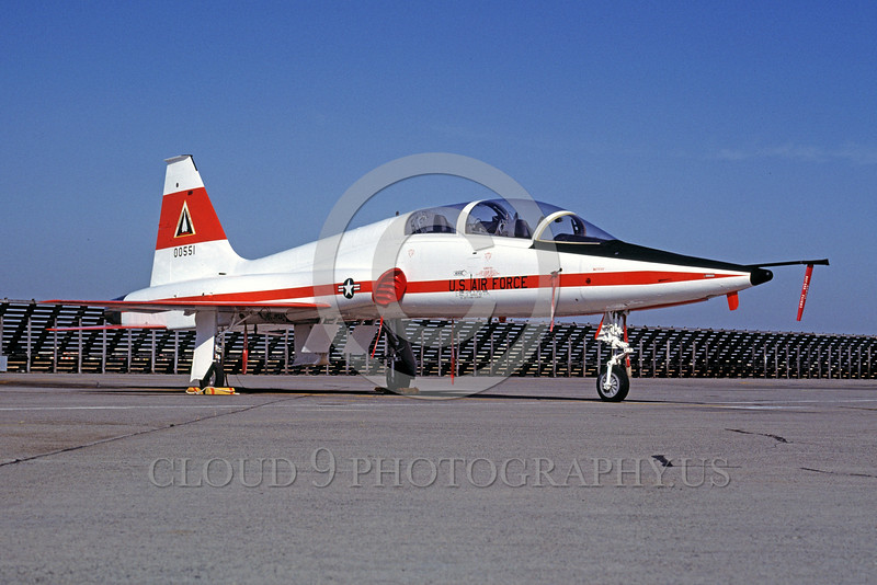 EE-T-38USAF 00001 A static colorful Northrop T-38 Talon USAF jet trainer 00551 McClellan AFB 5-1982 military airplane picture by Peter B Lewis
