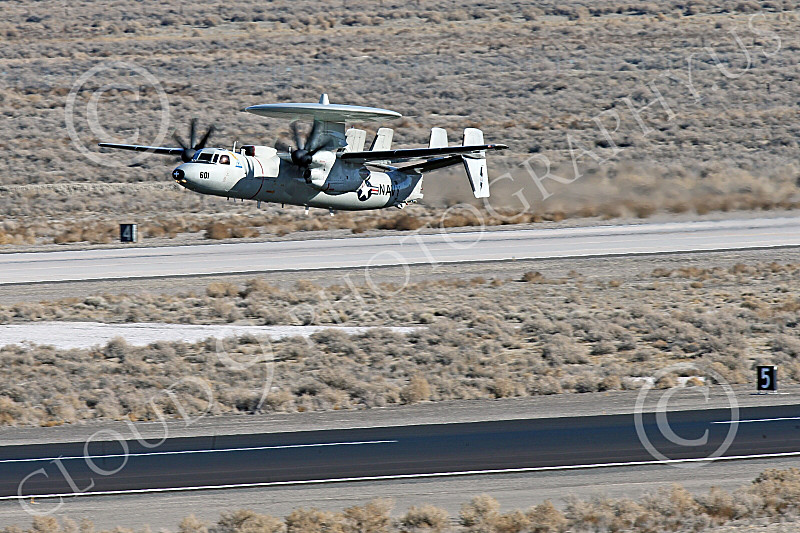 E-2USN 00290 A Grumman E-2 Hawkeye US Navy TOP GUN climbs out after taking off at NAS Fallon 1-2015 military airplane picture by Peter J Mancus