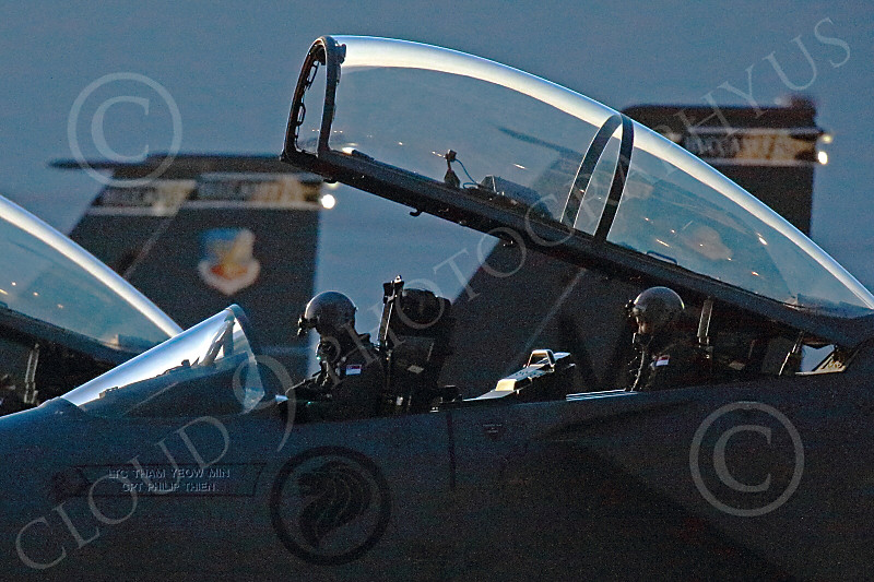 ACM 00349 Singapore Air Force F-15 Strike Eagle aircrew in their cockpit for a night Red Flag training mission at EOR Nellis AFB 7-2014 military airplane picture by Peter J Mancus