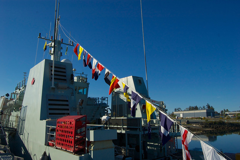 HMCS Yellowknife dress ship and colours