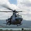 MARINE CORPS AIR STATION KANEOHE BAY, Hawaii – MARINE CORPS AIR STATION KANEOHE BAY, Hawaii – A UH-1Y Huey helicopter assigned to Marine Light Attack Helicopter Squadron 367 takes off from the flight line aboard Marine Corps Air Station Kaneohe Bay, Hawaii, April 9, 2014. HMLA-367 plays an important role in the everyday operations aboard Marine Corps Base Hawaii and has proven to be a vital asset in the Pacific as the Marine Corps begins to shift its focus back to the west. (U.S. Marine Corps photo by Lance Cpl. Matthew Bragg)