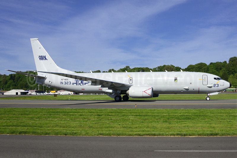 Indian Navy Boeing 737-8FV (P-8I Neptune) IN 323 - N718DS (msn 40613) BFI (Steve Bailey). Image: 922785.