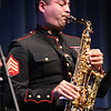 Sergeant Charlie Arbelaez plays alto sax as the U.S. Marine Corps Jazz Ensemble performs at UMass Lowell. Arbelaez is a member of the Marine Band San Diego. (SUN/Julia Malakie)