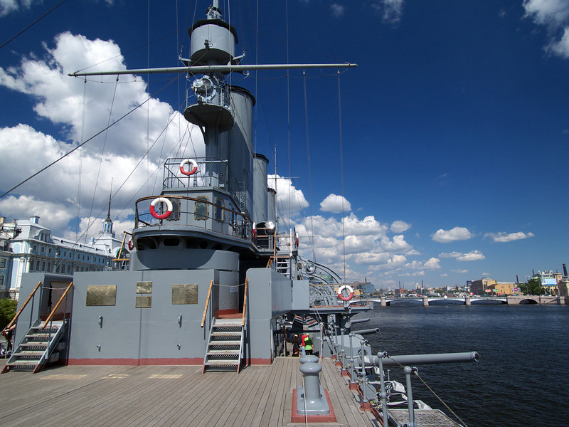 Deckhouse in deck of cruiser Avrora in Saint-Petersburg, Russia