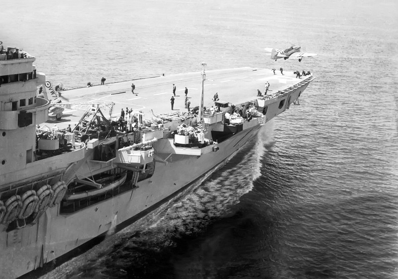 Hawker Sea Furies fly off HMS Glory on 17th March 1952 during Korean War