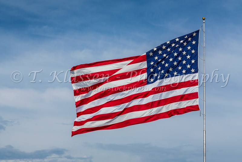 Closeup of the US flag flying in Moorhead, Minnesota, USA.