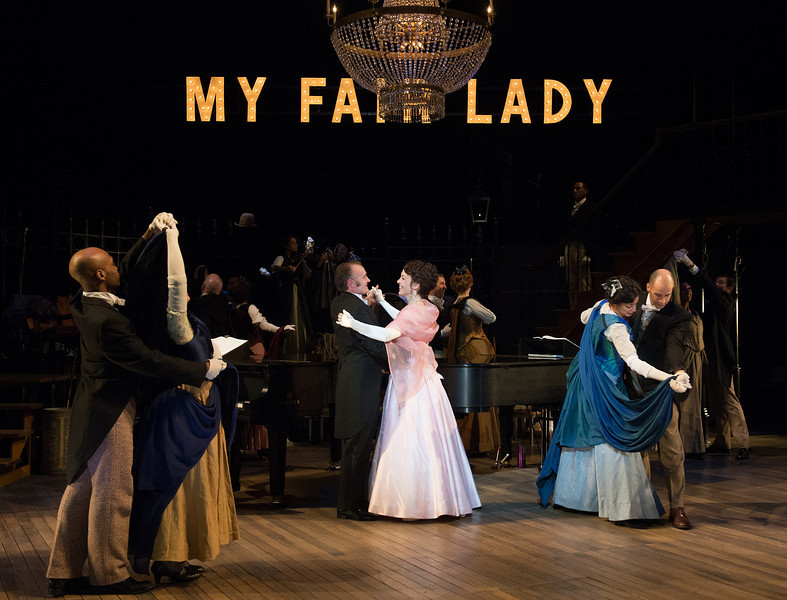 The Oregon Shakespeare Festival. 2013. My Fair Lady. Book and Lyrics by Alan Jay Lemer. Music by Frederic Loewe. Directed by Amanda Dehnert. Scenic Design: David Jenkins. Costume Design: Devon Painter. Lighting Design: M.L. Geiger. Photo: Jenny Graham.