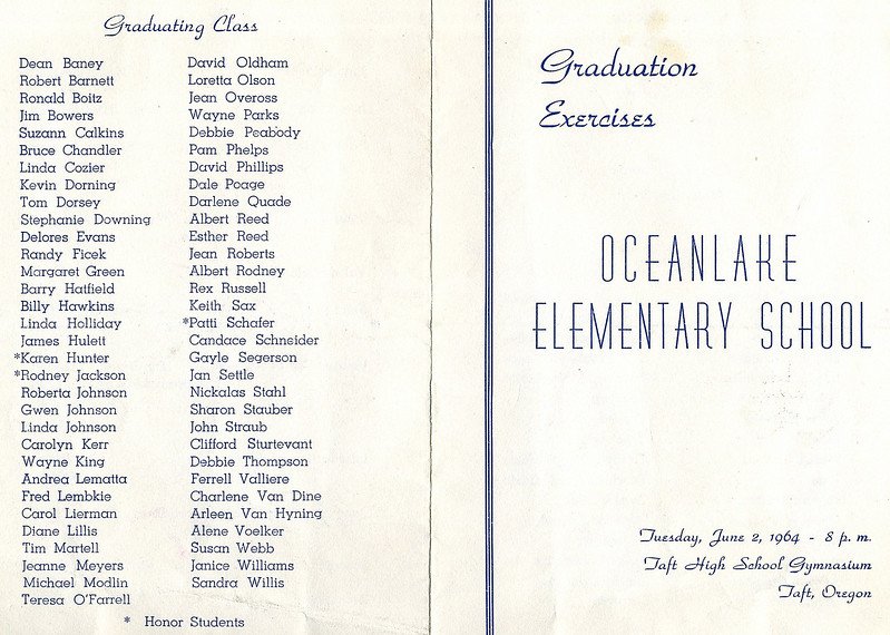 1964_06_02-01; oceanlake 8th grade graduation list