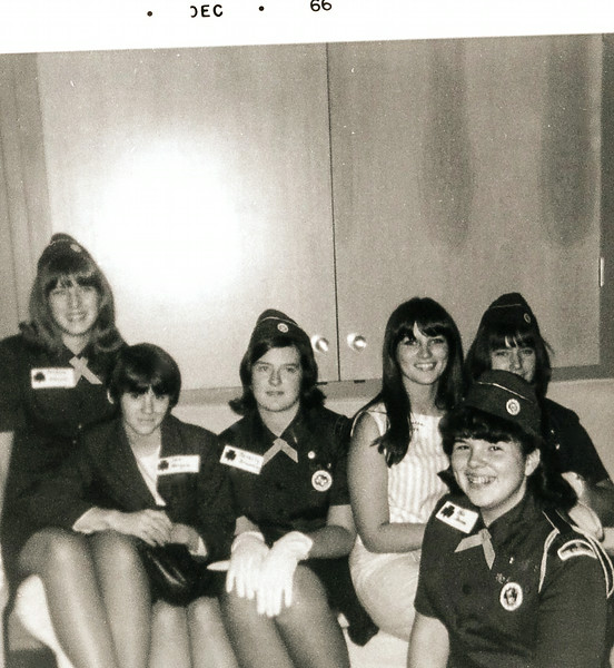 1966_12; barbara bienert, sue morgan, bev browning, loretta miles, chery stafford, bobbi johnson; girl scout troop; lincoln city, oregon