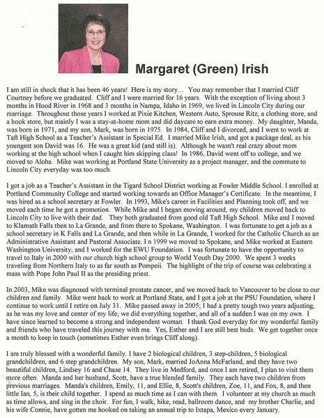 bio - margaret (green) irish