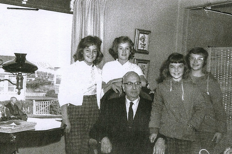 1957-1958; jan williams, carolyn kerr, sandy willis, linda betts, teacher-mr  lauderdale