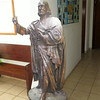 A cutout of John Wesley in the office.