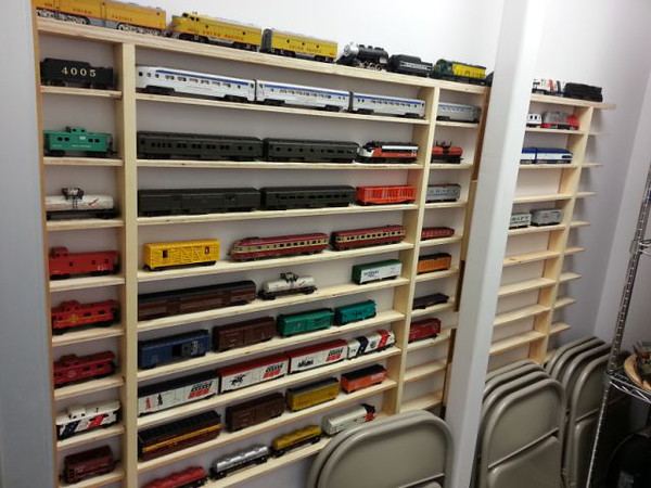 Sept. 19, 2014.  Shelving built and installed by the Griffin family for storage of rolling stock. <br /> (Photo sent by Deb Griffin, who designed these shelves.)
