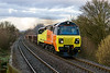3rd Mar 14:  On its 1st commercial run 70805 powers 6Z30 departmental from Westbury to Eastleigh through Dilton Marsh