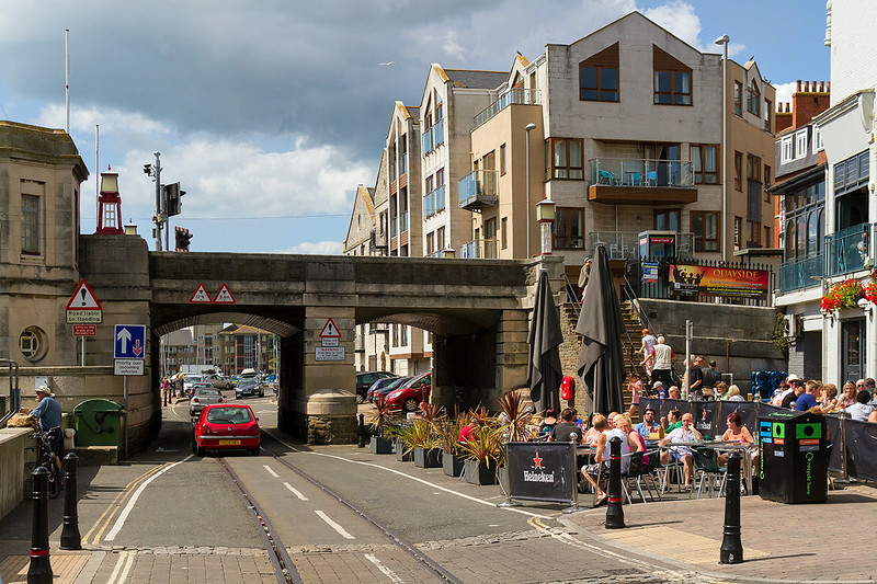 15th Aug 14:  The Town Bridge over the Tramway.  At high tides it can flood under here though it did not seem the worry the Pannioer Tanks at all ..