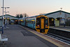 29th Dec 14:  13 minutes before sunrize and with the temperature well below freezing  159798 stands in Platform 2 while working the 06.00 Portsmouth Harbour to Cardiff