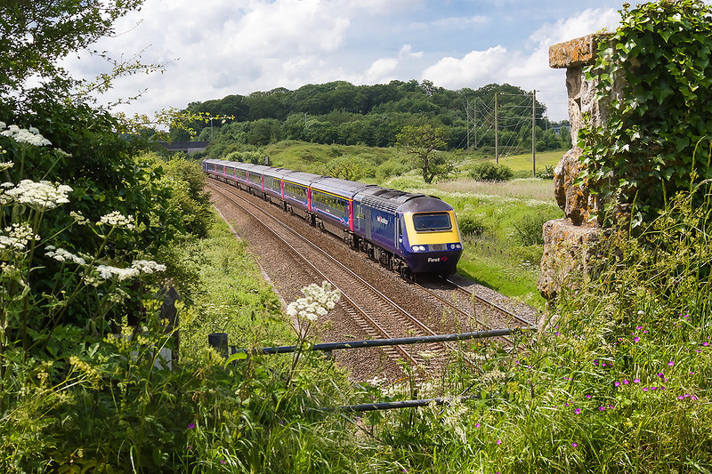 9th Jun 14:  Racing across Berkely Marsh is 43149 leading on 1A81 the 08.44 from Penzance to Paddington