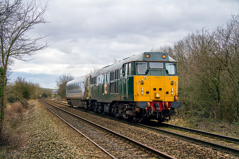 31st Jan 2015:  Having rounded the wartime  East Chord at Westbury from the Berks & Hants 31601 is now on the Wilts Somerset & Weymouth Line which it will leave at Bradford Junction.