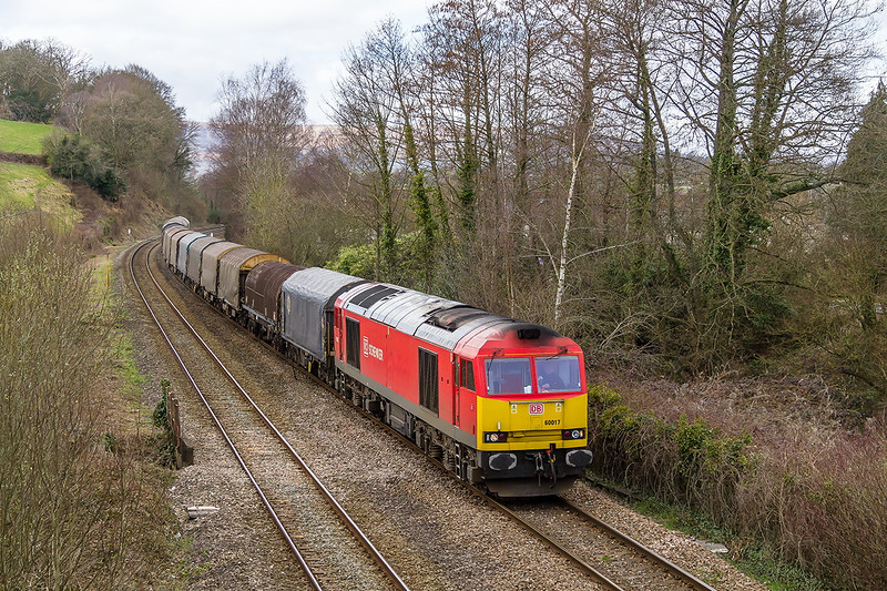 26th Mar 2015:  At sunless Ponthir 60017 rolls down the hill with 6V75 from Dee Marsh to Margam